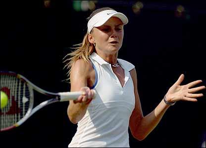 Slovakia's Daniela Hantuchova in action against Katarina Srebotnik