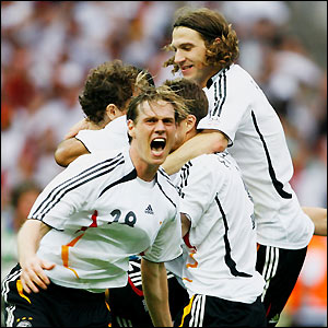 Germany's players celebrate their quarter-final win