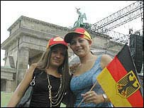 German fans at Brandenburg Gate