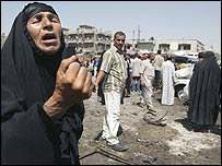 A woman mourns at the scene of attack