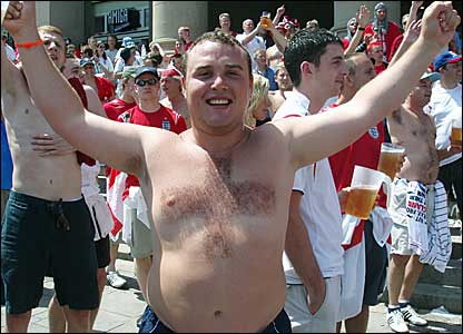 England fan shaves St Georges cross into his chest hair