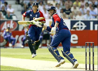 England's Marcus Trescothick flicks the ball away