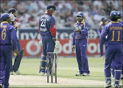 Trescothick is confronted by Sri Lanka's captain Mahela Jayawardene