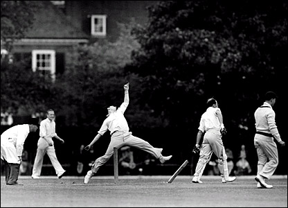 Fred Trueman bowling for Yorkshire against Essex at Brentwood in 1951
