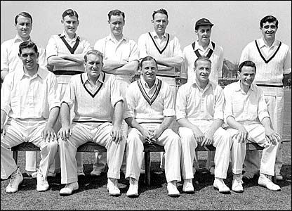 The Yorkshire team for the 1954 season, Fred Trueman pictured top right