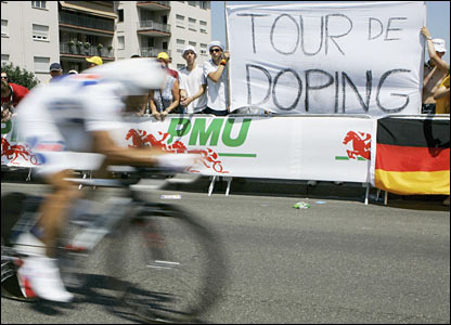 Anti-doping banners line the streets of the first stage
