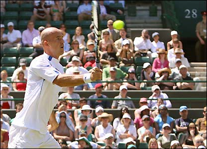Ivan Ljubicic prepares to execute a volley