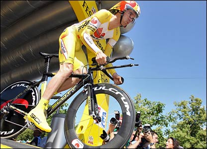 David Millar pushes off his assault on the Tour De France