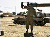 Israeli self-propelled guns just north of the Gaza Strip on Saturday