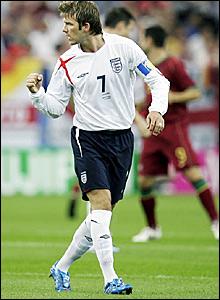 David Beckham encourages his England team-mates