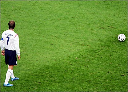 David Beckham lines up a free-kick for England