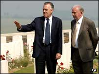 Northern Ireland Secretary Peter Hain (l) with Chairman of The Somme Association Dr Ian Adamson among the War Graves in Connaught Cemetery, Thiepval.