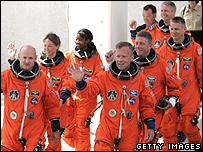 Shuttle crew leaves for the launch pad   Image: Getty Images