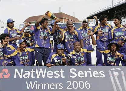 Sri Lanka celebrate their win follwoing the match