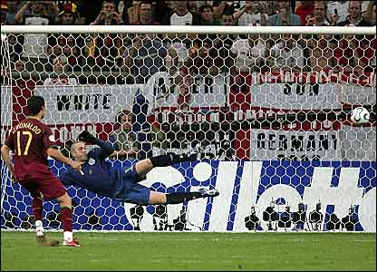 Cristiano Ronaldo scores the decisive penalty in the shoot-out against England