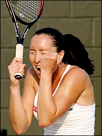 Jelena Jankovic screams with delight on match point