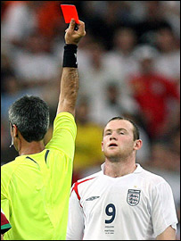 Wayne Rooney is sent off against Portugal