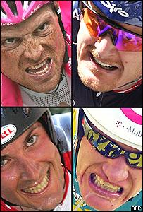 Cuatro ciclistas favoritos en su momento: (arriba izq.) Jan Ullrich (Alemania), Floyd Landis (EE.UU.), Ivan Basso (Italia) y Alexandre Vinokourov (Kazakst�n).