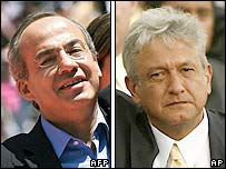 Felipe Calderon (left) and Andres Manuel Lopez Obrador