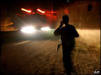 Palestinian policeman in Gaza after air raid