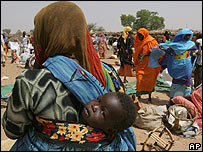 Scene at a refugee camp in Darfur