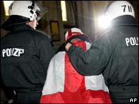 England fan being arrested
