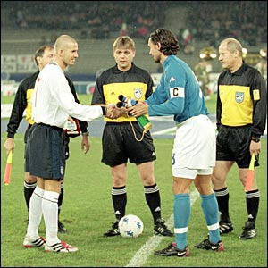 David Beckham's first game as captain was in 2000 against Italy