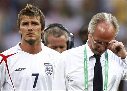 Beckham and Eriksson show their emotions as England's hopes are dashed