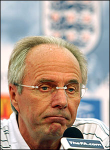 Sven-Goran Eriksson apologises, but looks relaxed and upbeat in front of the cameras
