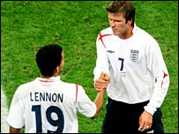 David Beckham and Aaron Lennon