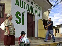 Bolivians in front of a mural promoting autonomy in Santa Cruz province