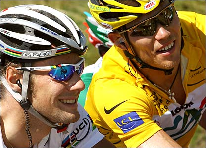 Tom Boonen and Thor Hushovd share a joke