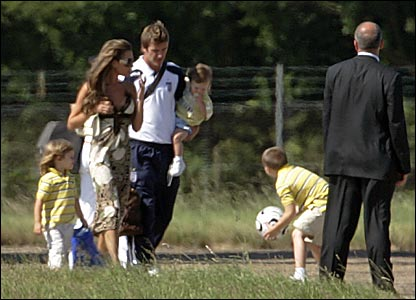 The Beckham family arrive at Stansted airport