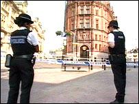 Police near the scene of the killing