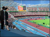 Artist's impression of the Olympic Stadium from the royal box. Picture from London 2012.