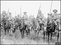 The 20th Deccan Horse, part of the Second Indian Cavalry Division, in Carnoy Valley shortly before their unsuccessful attack at High Wood on the evening of 14 July