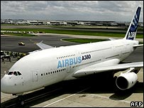 An A380 after making a trial landing at Heathrow