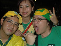 Brazil supporters in central Bangkok
