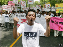 Protester at Indian HIV rally