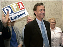 Ned Lamont at a rally on June 8