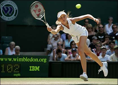 Daniela Hantuchova stretches for a forehand