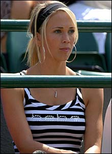 Bec Cartwright watches her husband Lleyton Hewitt