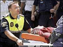 Injured passenger is taken to hospital