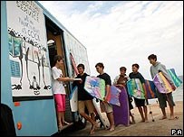 Mobile library on Fistral Beach. Picture: PA
