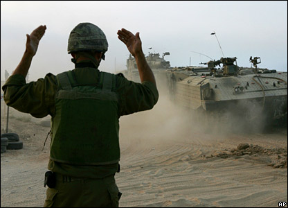 Soldier directs Israeli armoured vehicle