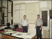 Dragan Miokovic (right) and a colleague in the control room of Sarajevo's cantonal police