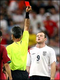 Wayne Rooney is shown the red card by referee Hector Elizondo