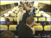 Aboard a crowded low-cost flight