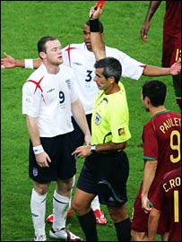Wayne Rooney gets the red card against Portugal in the World Cup