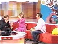 Bill Turnbull has a nosebleed; Sian iWilliams s in shock from the loud bangs - and Richard Hammond looks on